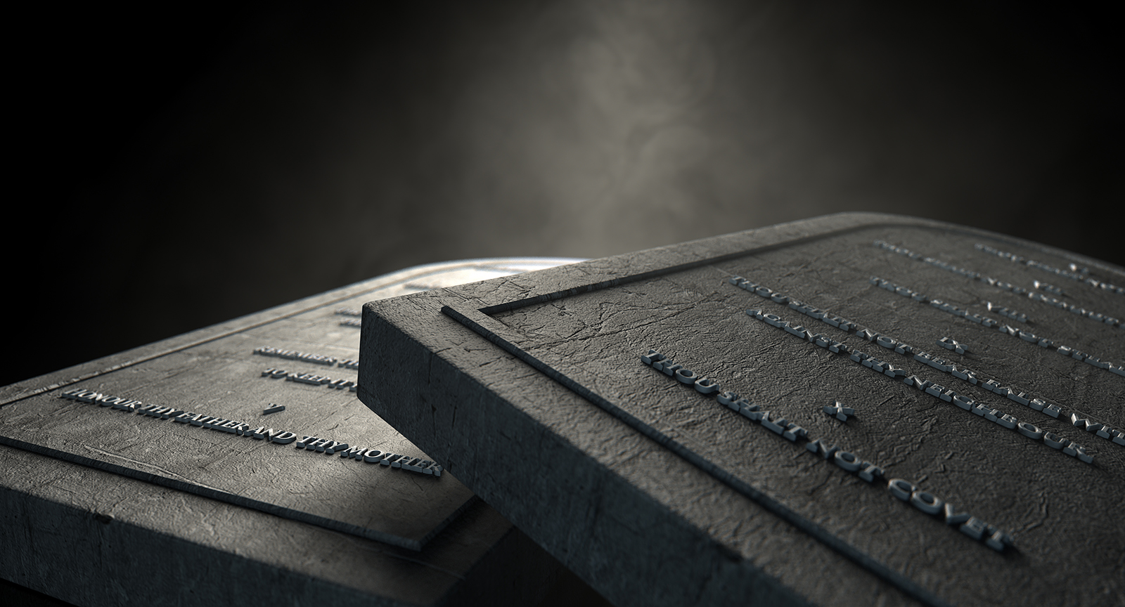 Two representative stone tablets with the ten commandments inscribed on them on an isolated dark ethereal background